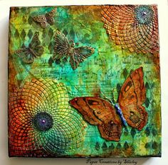 Paper Creations by Shirley: Mixed Media with Butterflies (large butterfly from Chocolate Baroque's Tangled Gardens)