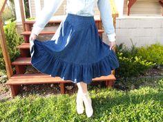 Denim Prairie Skirt, Cowgirl Country Western Skirt med.