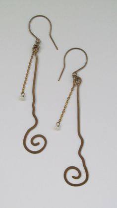 brass wrapped earrings with chain and pearl by littlehandemade