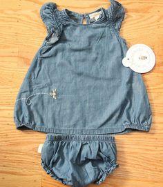 Burt's Bees Baby Girl Chambray Tunic & Diaper Cover Set ~Ruffles~ Bee Embroidery #BurtsBees #Everyday
