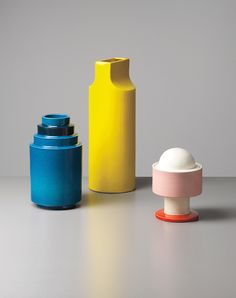"Ettore Sottsass, Two vases from the ""Fischietto"" series (model no. 592 & no. 610) produced by the Società Ceramica Toscana di Figline for Galleria Il Sestante, Italy, 1960s & Lidded vase, model no. 386 manufactured by Bitossi, for Galleria Il Sestante, Italy, circa 1965."