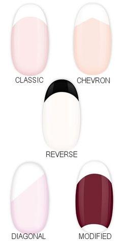 DIY - French tip styles. #nail #nails #nailart