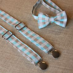 Blue Tan Check Plaid Bow Tie and Suspenders set Wedding ( Men, boys, baby, toddler, infant Suspender and Bowtie )