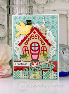 """Jeanne Jachna: A Kept Life – """"Serendipity Stamps November Release"""" - 11/5/15.  (Serendipity Stamps Dies: Birdies, Cottage, Blessings.  Pretty Pink Posh Dies: Borders 3. Cheery Lynn Dies: Priscilla Doily. MFT Dies: Fishtail Flags).  (Pin#1: Christmas: General.  Pin+: Houses)."""