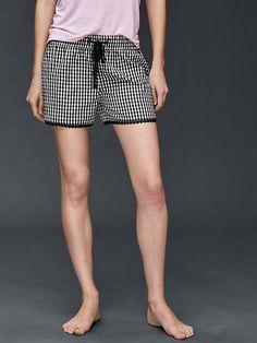Poplin print lace-trim shorts Product Image