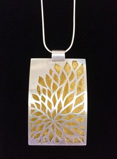 Image of Hand Pierced Peony Necklace with Gold Leaf