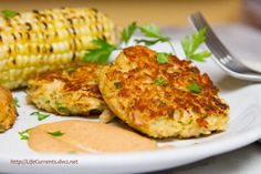 Tuna Cakes with Comeback Sauce, Corn on the Cob, and Biscuits