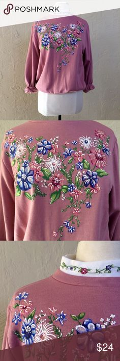 Vintage 1990s floral dusty pink sweat shirt Vintage 1990s floral dusty pink sweat shirt. Great condition. Labeled and fits a traditional women's size M. Vintage Tops Sweatshirts & Hoodies