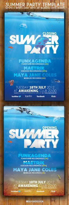 Summer Party Flyer Tempalte #design Download: http://graphicriver.net/item/summer-party-flyer-template/3117675?ref=ksioks