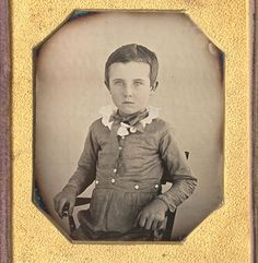 Bright sixth plate daguerreotype of boy, anonymous American ca. 1845.