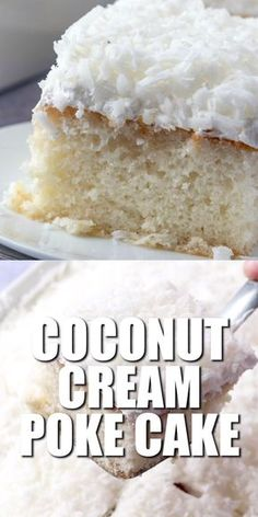Wedding cake recipes 99571841749046319 - Coconut Cream Poke Cake starts with a boxed cake mix and is covered with a creamy and sweet cream of coconut filling and a coconut topping! Source by thecountrycook Kokos Desserts, Coconut Desserts, Köstliche Desserts, Dessert Recipes, Irish Desserts, Easter Recipes, Baking Recipes, Dessert Simple, Food Cakes