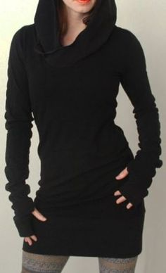 Love the Thumb Holes! Fun and Flirty Black Trendy Black Hooded Finger Hollow Out Long Sleeve Bodycon Hoodie Dress. Just love the whole look.