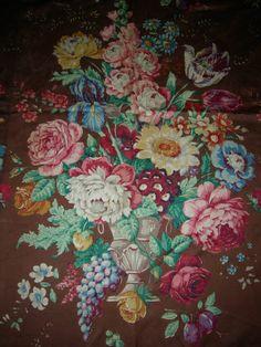 Vintage Sanderson floral chintz bouquets large length fabric