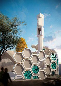 arash g tehrani qods mosque renovation islamic pattern tehran designboom Mosque Architecture, Concept Architecture, Futuristic Architecture, Amazing Architecture, Architecture Design, Amazing Buildings, Islamic World, Islamic Art, Central Mosque