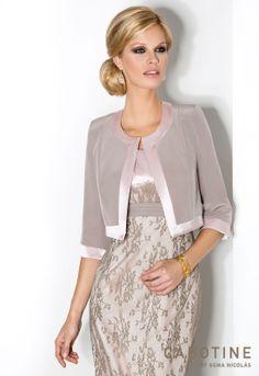 DONNA 6226 Conjunto de vestido de fiesta en encaje y triacetato con chaqueta manga francesa