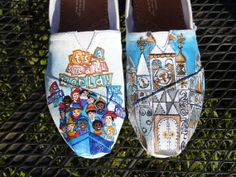 Custom Painted Shoes Disneyland Its A Small World clock boat characters ride TOMS VANS. via Etsy.