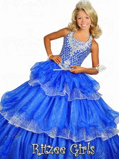 Halter Tiered Skirt Ritzee Girls Pageant Ball Gown 6676 : PageantDesigns.com