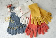 Such a clever DIY holiday gift: witty embroidered gloves!