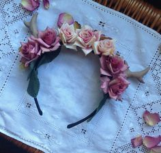 Fawn antler flower crowns for your mini faeries and by AuroraFawn