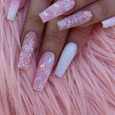 Acrylic Nail Designs Coffin, Acrylic Nails Coffin Pink, Coffin Nails Long, Summer Acrylic Nails, Pink Stiletto Nails, Pink Nail Designs, Pink Acrylics, Nails Design, Milky Nails