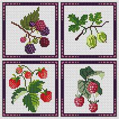 Kitchen Fruit - Blackberry, Gooseberry, Strawberry, and Raspberry Cross Stitch Fruit, Cross Stitch Kitchen, Cross Stitch Rose, Cross Stitch Flowers, Cross Stitch Charts, Cross Stitch Designs, Cross Stitch Patterns, Cross Stitching, Cross Stitch Embroidery