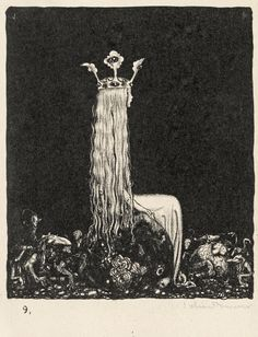 © John Bauer - Lithograph 2 (1915)-- Her hair suggests roots and her crown looks like a sprouting plant. Faber Castell, Art Inspo, Printmaking, John Bauer, Long Hair Drawing, Crown Illustration, Queen Crown, Fairytale Art, Fairytale Costume
