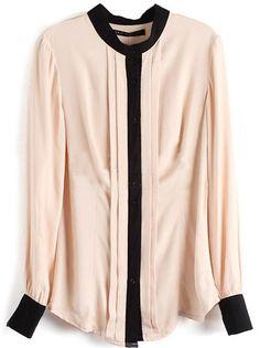 Blusa plisada combinada manga larga-Crudo 14.72