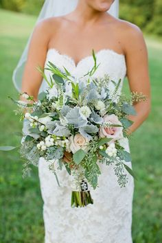 Autumn Wedding Bouquet- beautiful whites, grays and pale pink