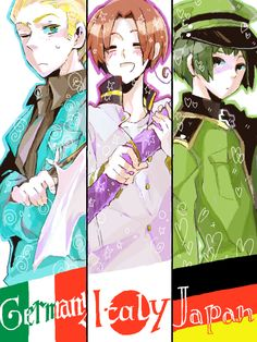 Hetalia Germany Italy and Japan swap: the flags really confused me XD Hetalia Germany, Hetalia Fanart, Germany And Italy, Fandom, Hetalia Axis Powers, Usuk, Fan Art, Japan, Anime