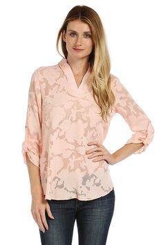 SHEER FLORAL PATTERN CHIFFON BLOUSE- Pink