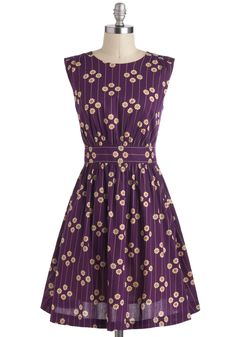 Too Much Fun Dress in Plum Petunias by Emily and Fin - Purple, Tan / Cream, Floral, Vintage Inspired, A-line, Sleeveless, Cotton, Mid-length, Pockets, Daytime Party, International Designer, Top Rated  What to wear to Matt and Allys wedding?