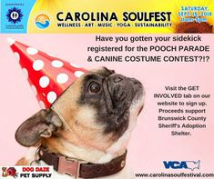 Join us at Carolina Soul Festival and take in our first Pooch Parade & Canine Costume Contest! Limited to 25 friendly pups. Costume Contest, Four Legged, Opportunity, Pup, Best Friends, Costumes, Best Freinds, Bestfriends, Dress Up Outfits