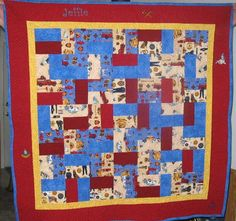 Take a look at this Fireman themed quilt made for a special little one.