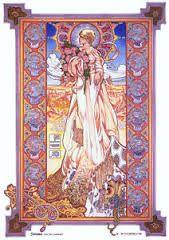 Sionna, the Fox Goddess. Jim Fitzpatrick, County Clare, Alphonse Mucha, Pagan, Painting & Drawing, Celtic, Original Paintings, Fox, Art Deco