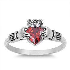 Sterling Silver Chic Style Claddagh Ring w/ Garnet Stone Sz 5-9 104691123456