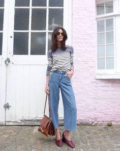 striped knit, denim culottes & minimal shoes #style #fashion   The Lifestyle Edit