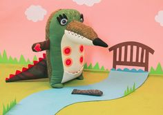 Hendrik the Crocodile handmade green croc by StitchedCreatures on Etsy