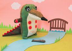 Hendrik de krokodil, handgemaakte groene kroko met vis