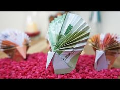Geldscheine falten für Geldgeschenke: Origami Pfau aus Geldschein basteln #TrauDirWasZu - YouTube
