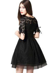 Patchwork Z Szydełkowym Wzorem Czarna Sukienka Mini