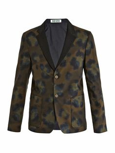 KENZO Reversible camo jacket (147652) $739  Khaki-green animal-print cotton blazer with a reversible navy-blue side, notch lapels and front patch pockets. Show your wild side with this Kenzo blazer – a slick update to your tailoring repertoire that brings new life to one of fashion's most enduring prints.  Shown here with Kenzo Tri-colour slim shirt, Kenzo Camo-print shorts and Trussardi shoes.