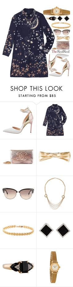 """""""Holiday Sparkle With The RealReal: Contest Entry"""" by ssm1562 ❤ liked on Polyvore featuring Mode, Manolo Blahnik, Valentino, Chanel, Oliver Peoples, Cartier, Yvel und Tiffany & Co."""