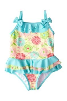 Absorba Floral Ruffle One Piece Swimsuit