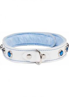 Divinity White Leather Collar With Faux Fur - This white leather collar is lined with plush blue faux fur and features sparkling blue gems, a sturdy d-ring...