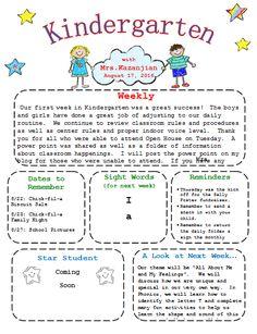 Printable Kindergarten Newsletter Template