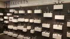 Faucet wall including Graff, California Faucets, Santec, and more! Kitchen And Bath Showroom, Faucets, Plumbing, California, Luxury, Wall, Taps, Griffins, Bathroom Fixtures