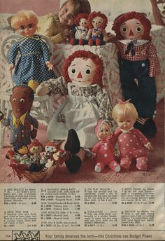 1972 Raggedy Ann and Andy, Drowsy, Baby Beans and a basket of dolls My Childhood Memories, Childhood Toys, Sweet Memories, Antique Dolls, Vintage Dolls, Vintage Items, Retro, Old Advertisements, Raggedy Ann And Andy