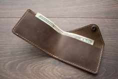 Leather Wallet with snap, leather card wallet, men's wallet, thin wallet, simple snap wallet