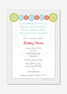 Superior Cute As A Button Baby Shower Invitation   Printable. $12.00, Via Etsy.