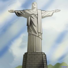how to draw christ the redeemer, christ the redeemer statue